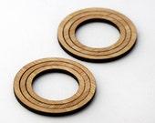 6 Concentric Circle Wood Beads : Bamboo