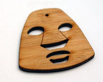 1 Kumu Tiki Head Bead : Bamboo