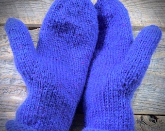 Purple wool mittens