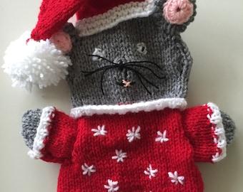 Christmas mouse puppet, Santa mouse puppet