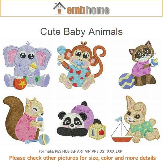 Cute baby animals pack machine embroidery designs instant