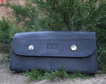 Leather wallet, handmade wallet from genuine leather, LB1006 Blue