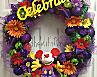 Disney Inspired Celebrate Mickey Mouse wreath