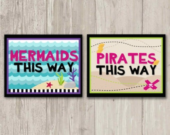 Pirates this way, Mermaids this way matching signs, Pirate, Mermaid Party Decor | Printable