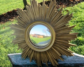 Authentic Vintage Resin Sunburst Wall Hanging Convex Mirror Mid Century French