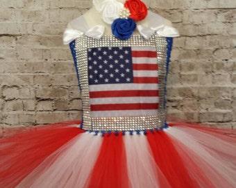 American flag, 4th of July Tutu dress. Patriot,Miss America pageant, birthday, wedding, theme wear 0-10years