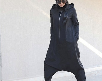 loose jumpsuit, long sleeve jumpsuit, sleeve jumpsuit, jumpsuit with hoodie, plus size jumpsuit, woman black jumpsuit, low crotch jumpsuit