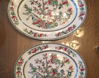 "2 Johnson Brothers INDIAN TREE Platters 14 1/4"" & 12 1/4"" transferware"