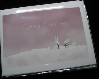 Merry Christmas original illustration on two 4.25 x 5.5 inch note includes envelopes