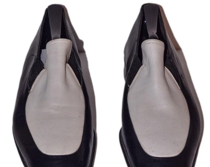 Bally AUTHENTIC Vintage Estate Black White Leather Loafer Men Size 8.5E