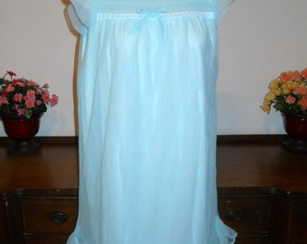 Vintage 1960's ~ Ultra Femme Nightgown ~ Blue Smocked Nightgown ~ Nylon Chiffon ~ Flirty Nightgown ~ Lolita ~ VLV ~ Small