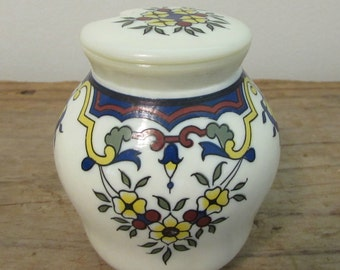 Mustard Jar, Moutarde Bocquet Yuetot, Dijon Mustard, Milk Glass, French Country Design, Hand Painted