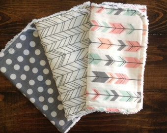 Burp Cloths, arrows, baby girl,baby gift, herringbone, polka dots