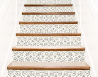 Stair stickers ornate vinyl tile decals for stair risers for Interieur stickers