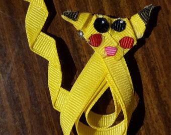 Pikachu Pokemon Ribbon Sculpture Bow Boutique Girls Hair Barrette Clip Yellow