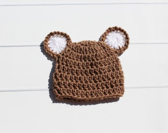 Newborn Bear Hat, Baby Bear Hat, Crochet Bear Hat, Infant Bear Hat, Crochet Baby Hat, Knit Bear Hat, Baby Hat With Ears, Bear Photo Prop