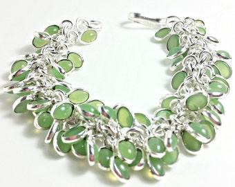 Gemstone Bracelet Silver Plated Green Chalcedony 8in in Length