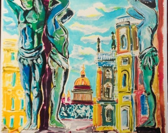 Original painting: St. Isaac Cathedral, St. Petersburg, Russia/ Dyes on silk, mixed media, mounted on canvas