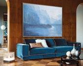 Large Abstract Landscape Oil Painting, Canvas Art. Handmade, Blue, green, gray, etc.