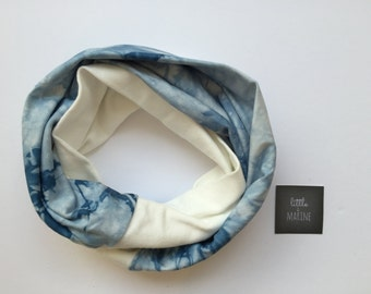 Baby Infinity scarf - Toddler scarf bib - warm blue & cream tie dye