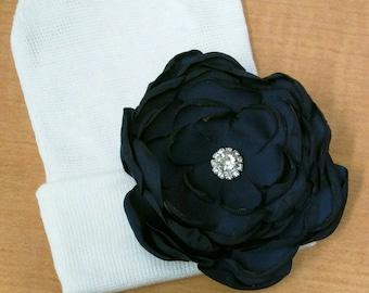 Solid White Newborn Hospital Hat w/ Navy Silk Flower w/ Rhinestone on it! Hospital Beanie. aDOrABle!