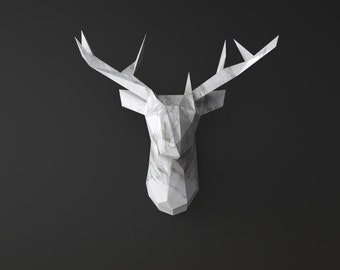 LIMITED EDITION Dearest Junior Marble DIY paper sculpture deer head trophy (low poly papercraft)