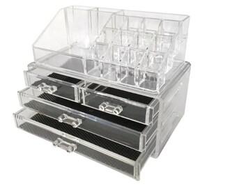 Jewelry Cosmetic Storage Two-Piece Acrylic Makeup Organizer Bathroom Drawers