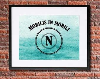 Mobilis in Mobili | Twenty Thousand Leagues Under the Sea | Captain Nemo Quote Poster Instant Download Literary Print Art Jules Verne 20,000