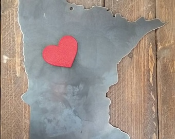 Love your State Rustic Raw Steel Magnet Board Metal Farmhouse home Decor Barn Design Decoration