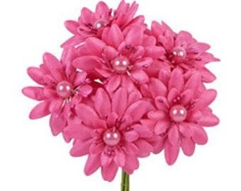 6 Pcs Daisy Dark Pink Fabric Flower Bouquet Flowers Supplies Wedding Artificial Flower Silk Flower Gerbera Daisy