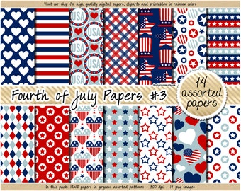 SALE Fourth of July digital paper 4th of July digital papers USA patriotic clipart 4th of July stickers scrapbooking navy blue red patterns