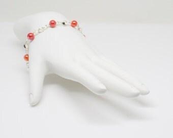 Bracelet, Pink Coral Beaded Bracelet, Wire Bracelet SN-41