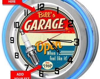 "Personalized 18"" Neon Garage Clock"