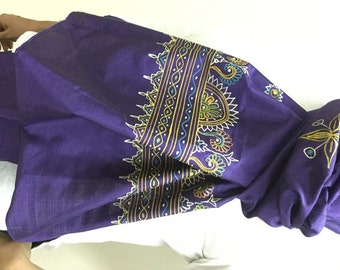 Purple Hand-Painted Silk Scarves from Kutch/ Rogan Art from Kutch/ Natural and organic paints