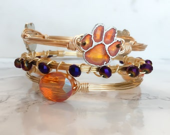 Clemson Tigers College Football Bangle Set // College Football // Game Day //