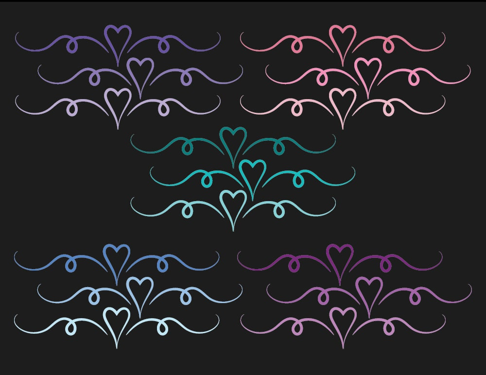 Heart divider heart divider clip art swirl clipart dividers