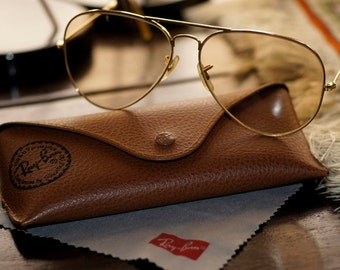 Ref: 181  Vintage yellow Ray-Ban aviator glasses with case.