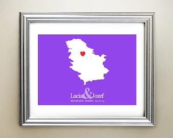 Serbia Custom Horizontal Heart Map Art - Personalized names, wedding gift, engagement, anniversary date