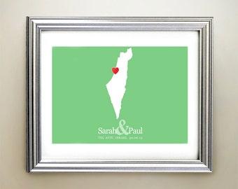 Israel and Palestine Custom Horizontal Heart Map Art - Personalized names, wedding gift, engagement, anniversary date