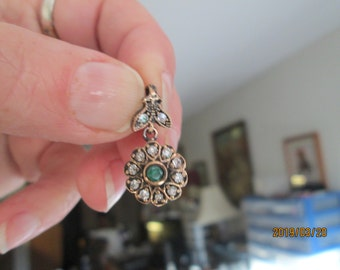 Vintage Inspired Art Deco .60ctw Emerald and White Sapphire Round Flower Rose Gold/925 Sterling Silver Pendant, Wt. 4.0g