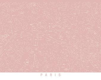 "Shabby chic map of Paris, paris map, shabby chic map, 18"" x 24"" print, choose color"