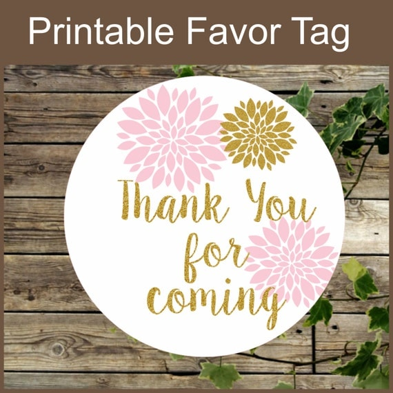 pink and gold floral favor tag instant download printable label