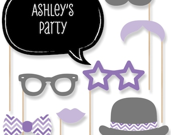 20 Purple Photo Booth Props with Mustache, Glasses, Hats, Bow Ties and Custom Talk Bubble - Baby Shower, Brithday Party, Bridal Shower