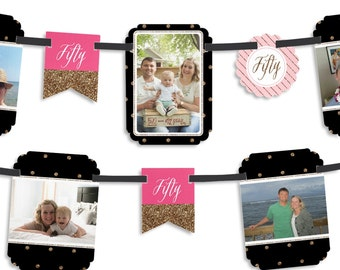 Chic Pink, Black and Gold - 50th Birthday Party Photo Garland Banner - Custom Birthday Party Decorations