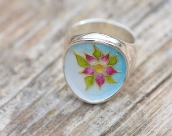 Lotus Flower Ring, Cloisonne Ring, Sterling Silver Ring, Enamel Ring, Floral Jewelry, Botanical Jewelry, Pink Flower, OOAK, Giampouras