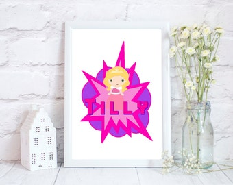 Superhero print, Super hero wall art, Girls room decor, Super hero bedroom, Super hero Prints, Superhero wall art, Superhero gift, Superhero
