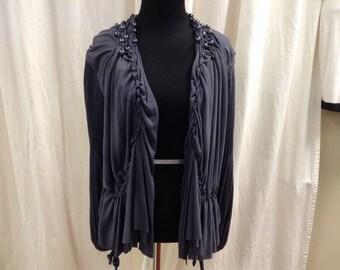 Scoop NEW! Vintage Bluegray Poet Sleeve Jacket/Blouse/Cardigan/Top Size Small