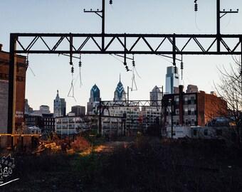 Philadelphia Train Photography, Urban City Landscape, Skyline Print, Abandoned Scenes Photography, Fine Wall Art