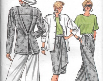 Vintage 1980s Vogue Sewing Pattern 9636 - Misses' Jacket, Pants, Skirt, Pullover Top size 8-10-12 uncut FF