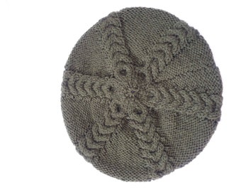 Beautiful hand knitted cabled beret in forest green by Liz